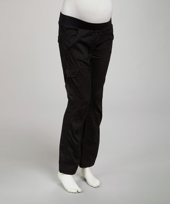 Black Maternity Under-Belly Cargo Pants