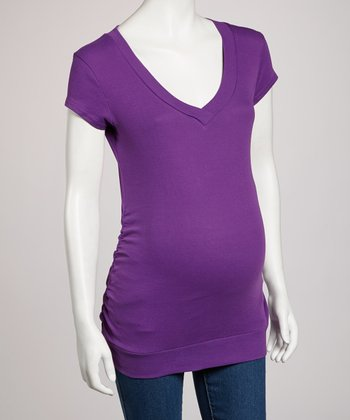 Purple Ruched Maternity Tee - Women