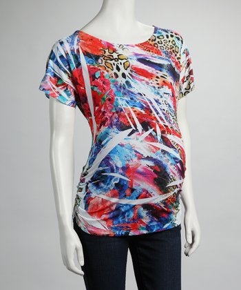 Blue & Red Sublimation Maternity Top