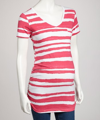 Fuchsia Stripe Maternity Tee - Women