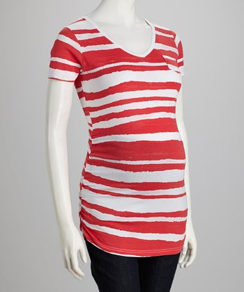 Red & White Stripe Maternity Top