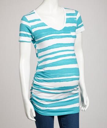 Mom & Co. Turquoise Stripe Maternity Tee - Women