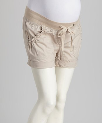 Khaki Maternity Shorts - Women