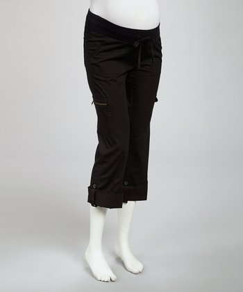 Black Convertible Under-Belly Maternity Capri Pants