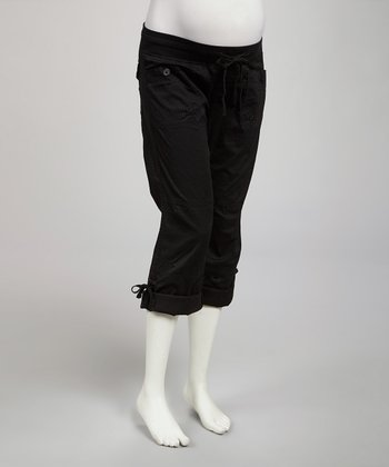 Black Convertible Under-Belly Maternity Capri Pants - Women