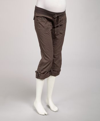 Charcoal Convertible Under-Belly Maternity Capri Pants - Women