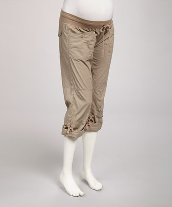 Light Khaki Convertible Under-Belly Maternity Capri Pants - Women