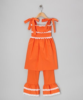 Orange Tie Ruffle Tunic & Pants - Toddler & Girls
