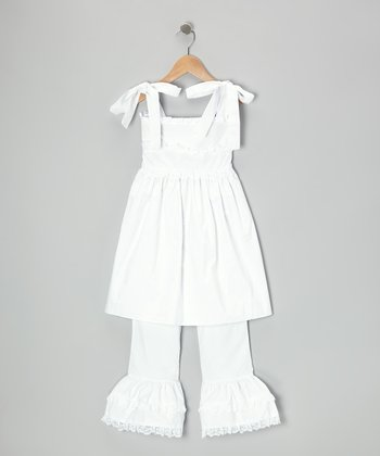 White Tie Ruffle Tunic & Pants - Toddler & Girls