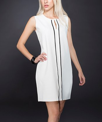 White & Black Stripe Sleeveless Dress