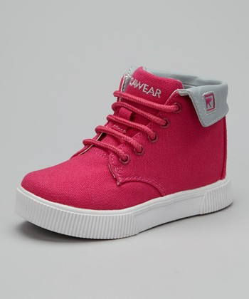 Pink & Gray Roc Down Hi-Top Sneaker - Kids
