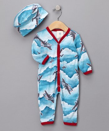 Blue Vintage Airplane Long-Sleeve Playsuit & Beanie - Infant