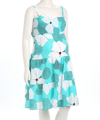 Aqua Floral Smocked 2 In1 Maternity Dress & Skirt