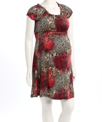 Beige & Red D&A Nursing Dress