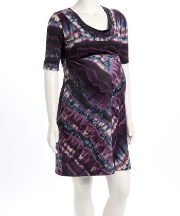 Purple Tie-Dye D&A Nursing Dress