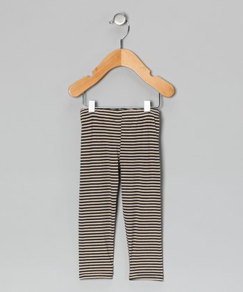 Navy & Oatmeal Stripe Leggings - Infant, Toddler & Kids