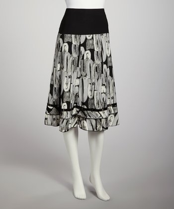 Black & Gray A-Line Skirt