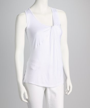 White Twist Knot Tank