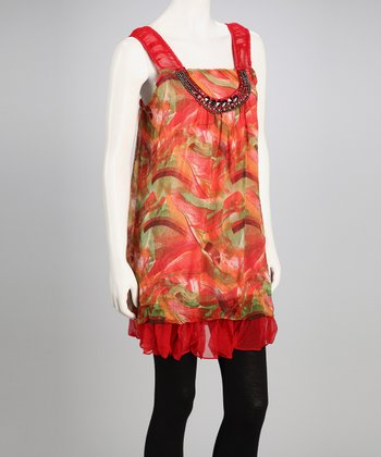 Red Swirl Chiffon Shift Dress