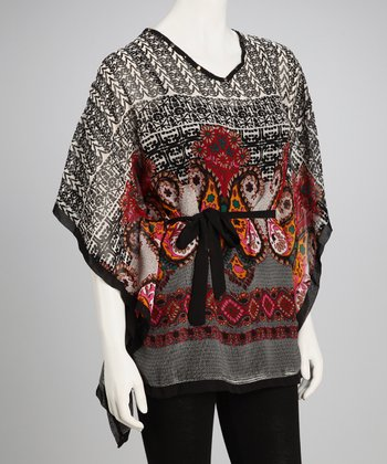 Black Paisley Cape-Sleeve Tunic
