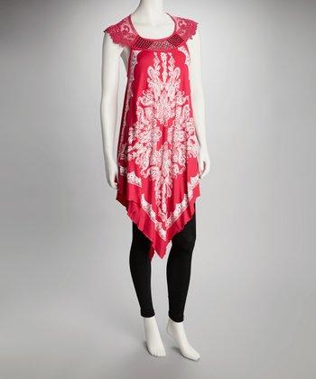 Zashi Fuchsia & White Handkerchief Hem Tunic