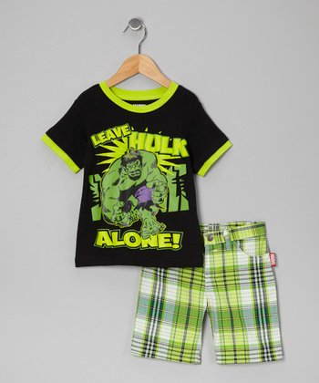 Black 'Leave Hulk Alone' Tee & Plaid Shorts - Toddler & Boys