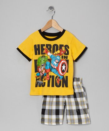 Yellow 'Heroes in Action' Tee & Plaid Shorts - Toddler