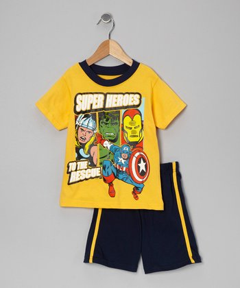 Yellow & Navy 'Super Heroes' Tee & Shorts - Toddler