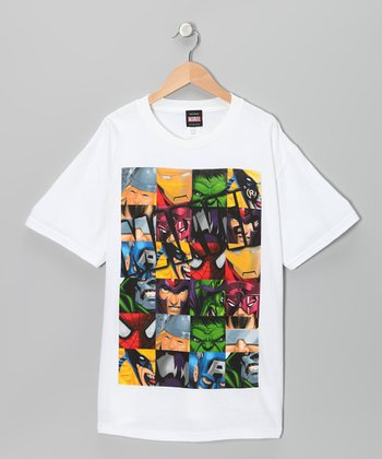 White Marvel Collage Tee - Kids
