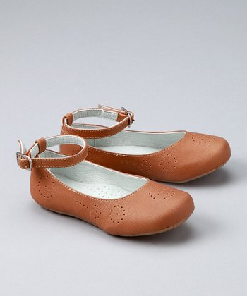 Saddle Ankle-Strap Ballet Flat