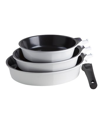 White Nonstick Amovible Frying Pan Set