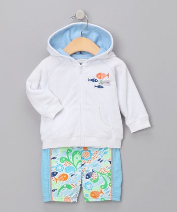 White Terry Zip-Up Hoodie & Swim Trunks - Infant