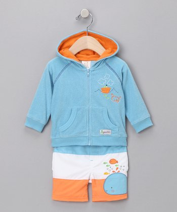 Blue Terry Zip-Up Hoodie & Swim Trunks - Infant
