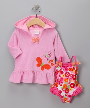 Pink Terry One-Piece & Hoodie - Infant