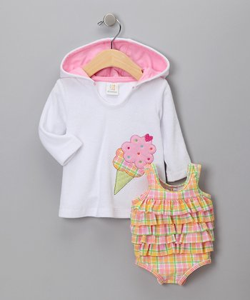 White Terry One-Piece & Hoodie - Infant
