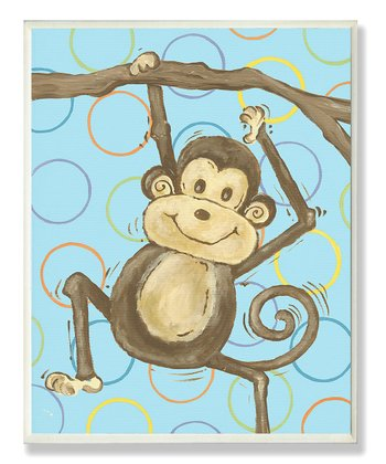 Blue Lil' Buddy Hanging Monkey Wall Art