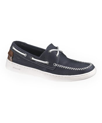 Mariner Navy & Brown Wenworth Two-Eye Boat Shoe - Men