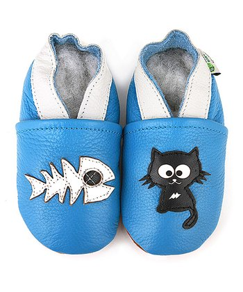 Blue & White Cat & Fish Booties