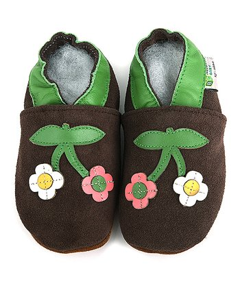 Brown Flower Booties
