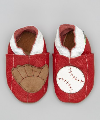Red Baseball & Glove Booties