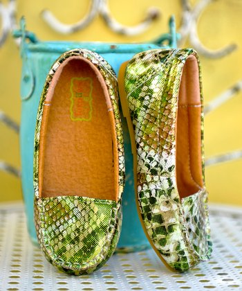 Metallic Green Snake Loafer - Infant & Toddler