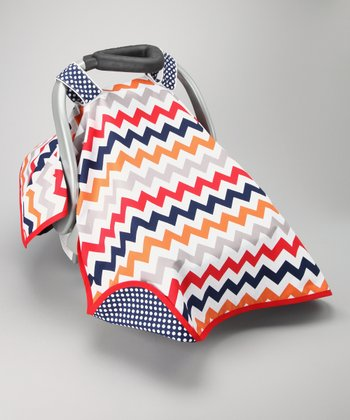 Posh Comforts Red Crazy Zigzag Car Seat Canopy