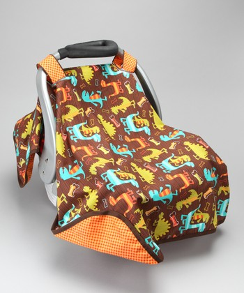 Posh Comforts Orange Dino Dudes Car Seat Canopy