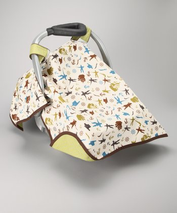 Posh Comforts Green Pirates Day Car Seat Canopy