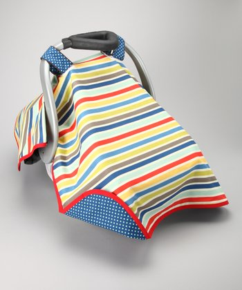 Blue Stripe Delight Car Seat Canopy