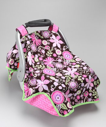 Pink & Brown Garden Delight Car Seat Canopy