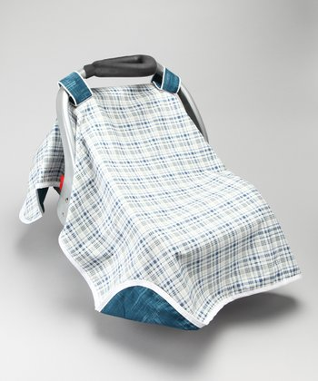 Blue True Plaid Car Seat Canopy