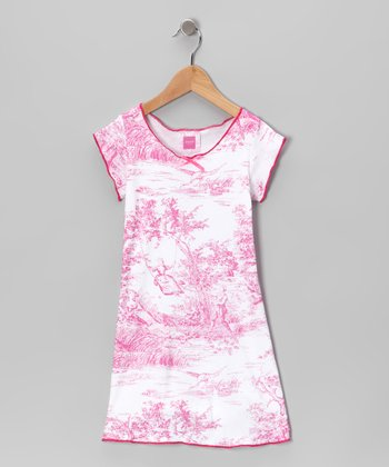 Haute Pink Toile Cap-Sleeve Dress - Toddler & Girls