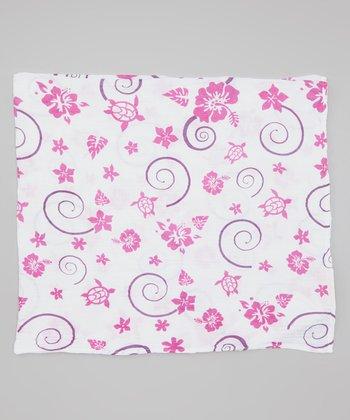 Pink & Purple Hawaiian Organic Swaddling Blanket