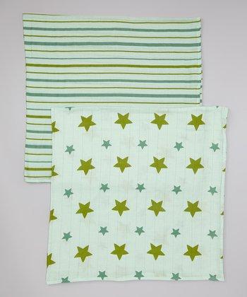 Green Stars & Stripes Organic Swaddling Blanket Set